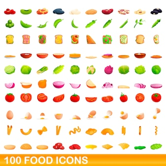 Jeu d'icônes de nourriture, style cartoon
