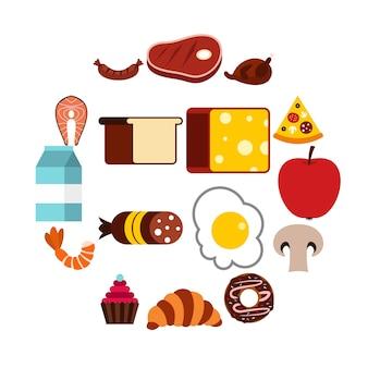 Jeu d'icônes de nourriture, style plat