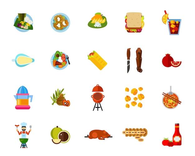 Jeu d'icônes de nourriture traditionnelle
