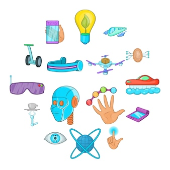 Jeu d'icônes de nouvelles technologies, style cartoon