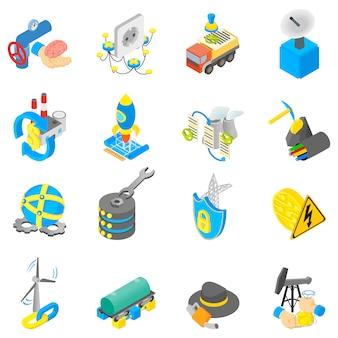Jeu d'icônes numériques de pétrole, style isométrique