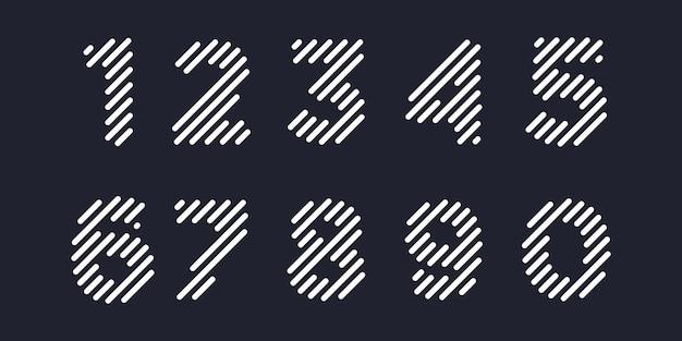Jeu d'icônes de numéro simple, numéro 1 à 10 éléments combinés numériques ou données. modèle de conception de logo