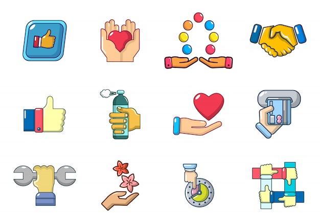 Jeu d'icônes de l'objet à la main. jeu de dessin animé d'icônes de main objet vectorielles mis isolé