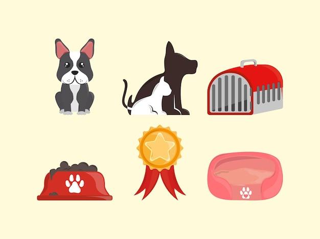 Jeu d'icônes objets animaux de compagnie