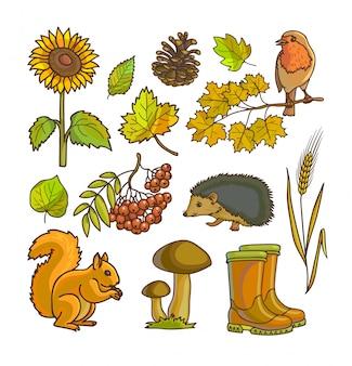 Jeu d'icônes et d'objets automne ou automne