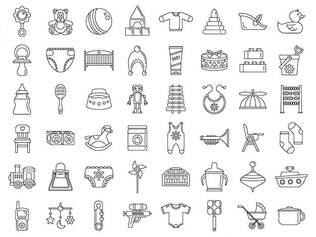 Jeu d'icônes d'objets bébé jouet