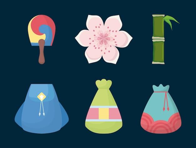 Jeu d'icônes d'objets iconiques sud coréen
