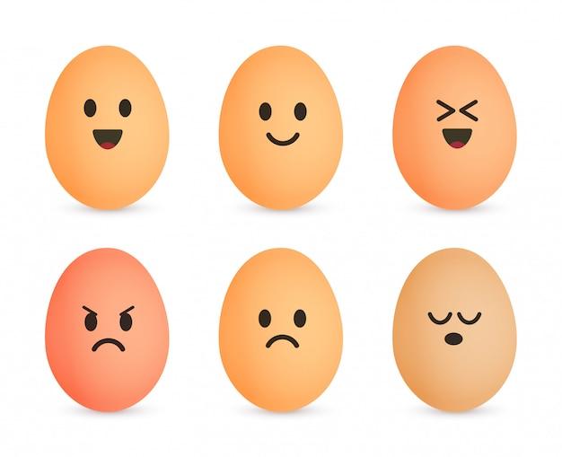 Jeu d'icônes d'oeuf. joyeux personnages coquille d'oeuf. visage émotionnel sur les œufs