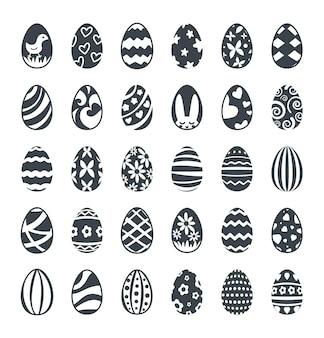 Jeu d'icônes d'oeufs de pâques noirs décorés