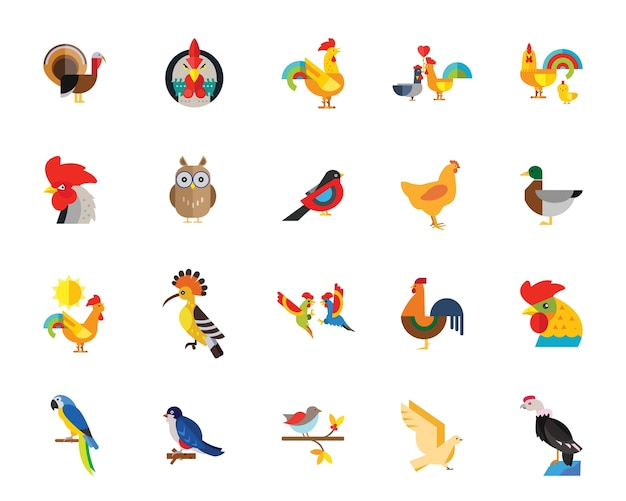 Jeu d'icônes d'oiseaux