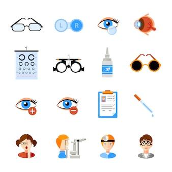 Jeu d'icônes d'ophtalmologie