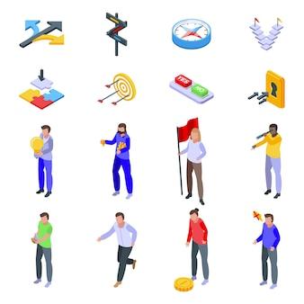 Jeu d'icônes d'opportunité. ensemble isométrique d'icônes d'opportunité pour le web