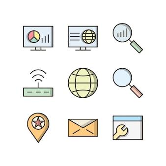Jeu d'icônes d'optimisation de moteur de recherche