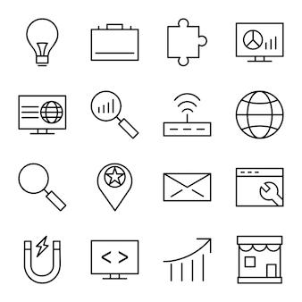 Jeu d'icônes d'optimisation pour les moteurs de recherche
