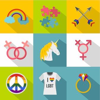 Jeu d'icônes d'orientation sexuelle, style plat