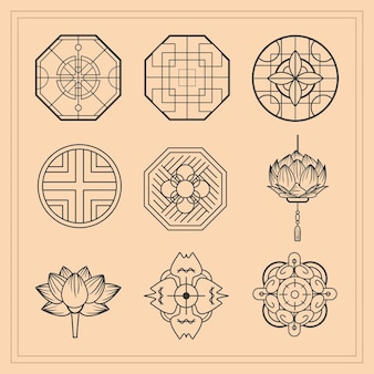 Jeu d'icônes d'ornements de culture chinoise