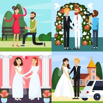 Jeu d'icônes orthogonales personnes mariage