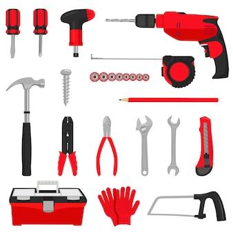 Jeu d'icônes d'outils de réparation de construction