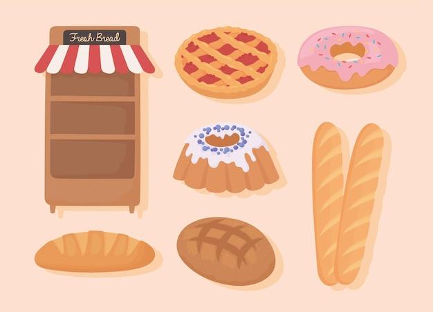 Jeu d'icônes de pain