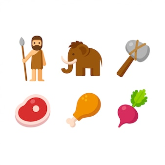 Jeu d'icônes paleo, icônes du dessin animé représentant l'homme primal et son régime alimentaire.