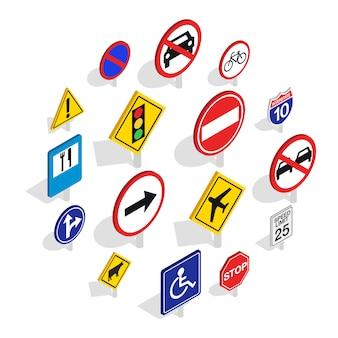 Jeu d'icônes de panneau de signalisation, style isométrique