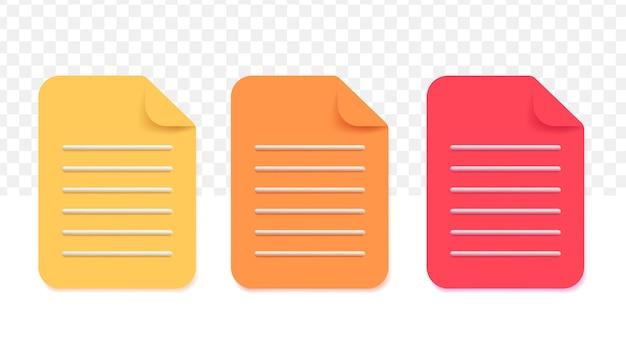 Jeu d'icônes de papier de documents. icône de l'entreprise. illustration vectorielle 3d sur fond transparent blanc