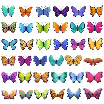 Jeu d'icônes de papillon, style cartoon