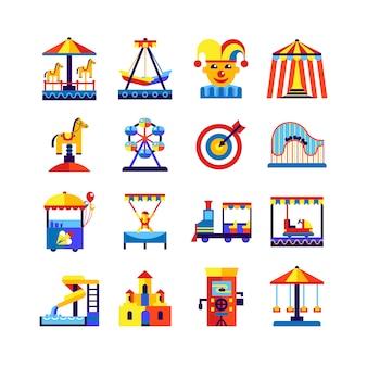 Jeu d'icônes parc d'attractions