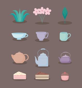 Jeu d'icônes pastel pastel couleur thé heure