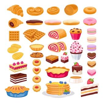 Jeu d'icônes de pâtisserie sucrée. produits de boulangerie.