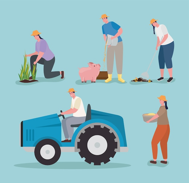 Jeu d'icônes de personnes agriculteur