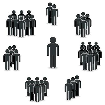 Jeu d'icônes de personnes dans un style plat branché.