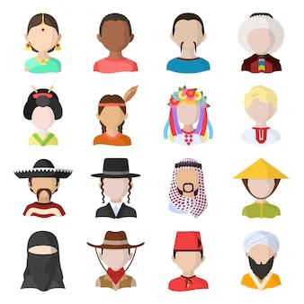 Jeu d'icônes de personnes dessin animé