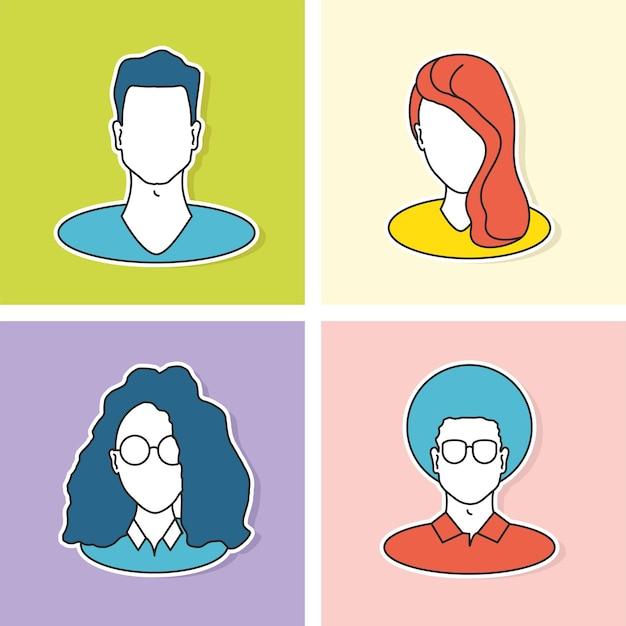 Jeu d'icônes de personnes de profil d'avatar