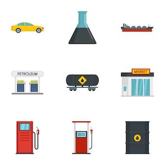 Jeu d'icônes de pétrole, style plat