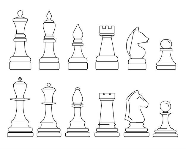 Jeu d'icônes de pièce d'échecs