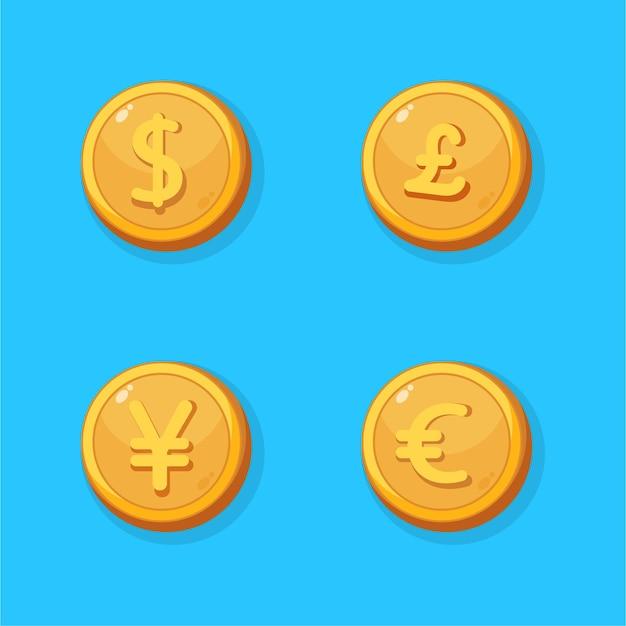 Jeu d'icônes de pièce d'or de devise