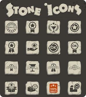 Jeu d'icônes de pierre web de qualité pour la conception d'interface utilisateur