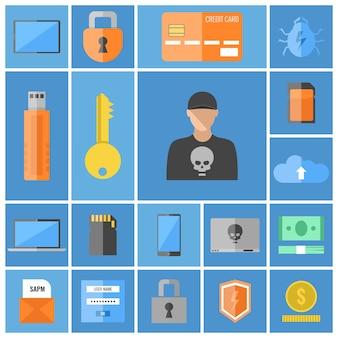 Jeu d'icônes de pirate informatique, sécurité informatique