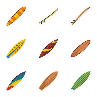 Jeu d'icônes de planche de surf classique, style plat