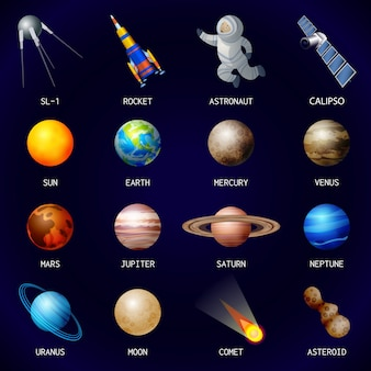 Jeu d'icônes de planètes