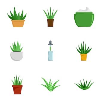 Jeu d'icônes de plantes aloe vera, style plat