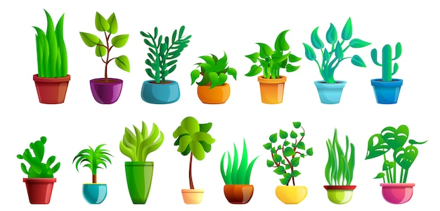 Jeu d'icônes de plantes d'intérieur, style cartoon