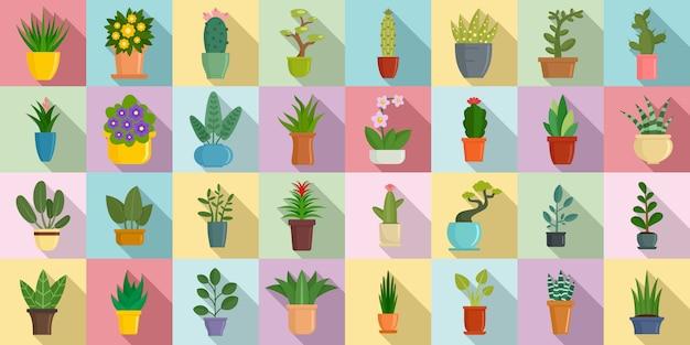 Jeu d'icônes de plantes d'intérieur