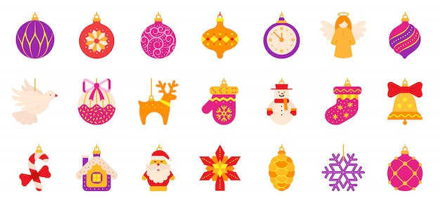 Jeu d'icônes plat arbre de noël, boule de noël, ange, jouet étoile, hiver à la maison.