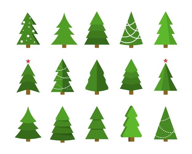 Jeu d'icônes plat arbre de noël collection d'artisanat de dessin animé de noël élément de conception de vacances d'hiver de nouvel an
