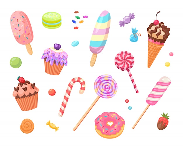 Jeu d'icônes plat bonbons et gâteaux