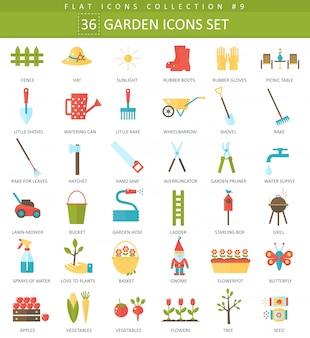 Jeu d'icônes plat de couleur de jardin de vecteur. design de style élégant
