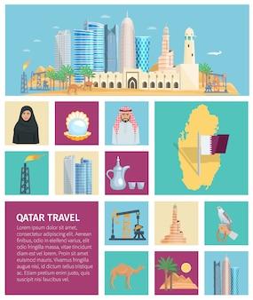 Jeu d'icônes plat de culture du qatar