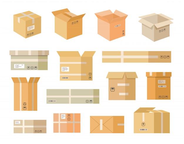 Jeu d'icônes plat diverses boîtes en carton